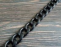 Цепь декоративная метражная металл №22 ширина 15мм цвет черный
