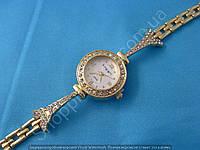 Часы King Girl 9648 женские золотистые круглые на белом циферблате в стразах браслет Эйфелева Башня