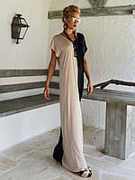 Длинное комбинированное платье прямое