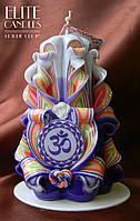 Резная свеча со священным слогом ОМ, ручная работа, собственный дизайн, мастерская резьба, высота свечи 12 см