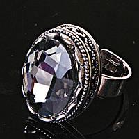 Кольцо безразмерное с овальным серым камнем , фото 1