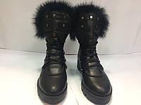 женские зимние ботинки с опушкой из натурального меха