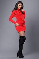 Платье-туника трикотажное с декоративным воротником-хомутом