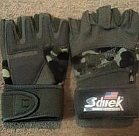 Перчатки для пауэрлифтинга спортивные атлетические мужские кожа полиестер камуфляж