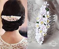 """Свадебный гребень для волос """"Розовые гортензии с фрезиями"""""""