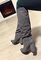 Теплые женские зимние сапоги на каблуках, материал натуральная замша. Серый цвет