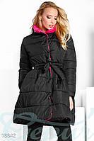 Объемное приталенное пальто. Цвет черно-розовый.