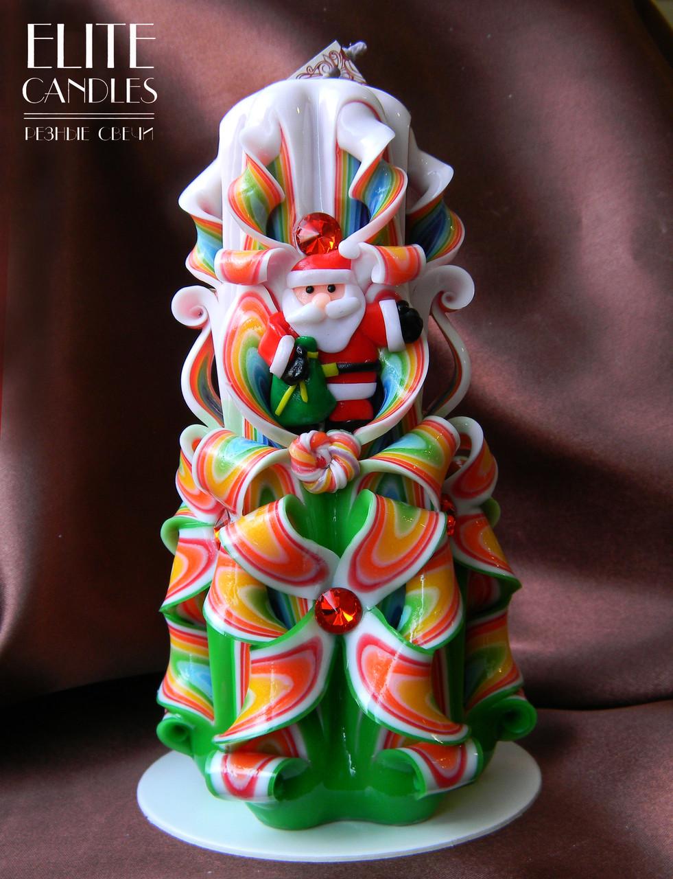 Новогодняя резная свеча с дедом морозом для подарка родным и близким Вам людям от Elite Candles - ELITE CANDLES Интернет-магазин подарков и декора в Каменце-Подольском
