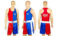 Форма боксерская ELAST VL-3064-R (PL, р-р S-XL, майка красный-синий, шорты синий-красный)