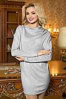Стильная Теплая Туника-Платье из Ангоры Свободного Фасона Светло-Серая S-XL
