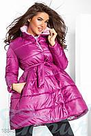 Объемное приталенное пальто. Цвет малиновый.