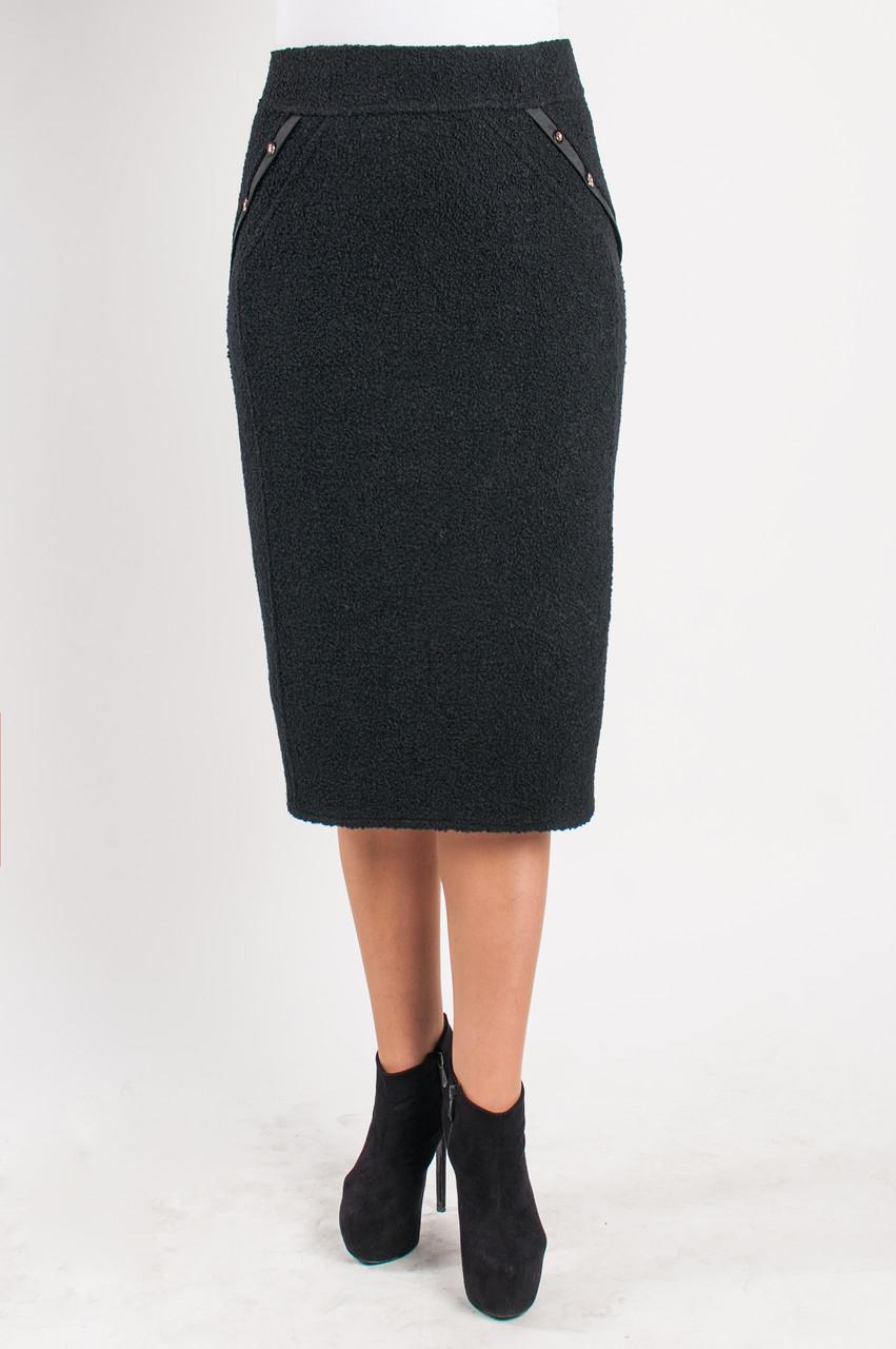 Женская прямая юбка чёрного цвета букле«Надежда»