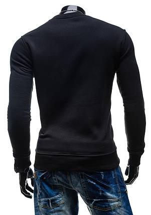 Утепленная черная мужская толстовка без капюшона, фото 2