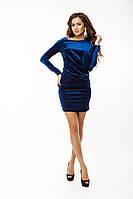 Изящное велюровое красивое  женское платье мини синее