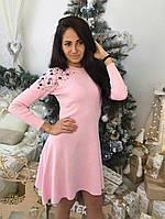 Оригинальное платье с цветными камнями №1225 (4 цвета)