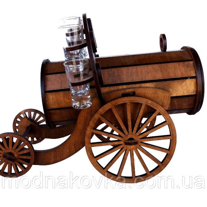 Мини-бар с рюмками деревянный Пушка I Подставка для алкоголя I Оригинальные подарки I Подставка под бутылки