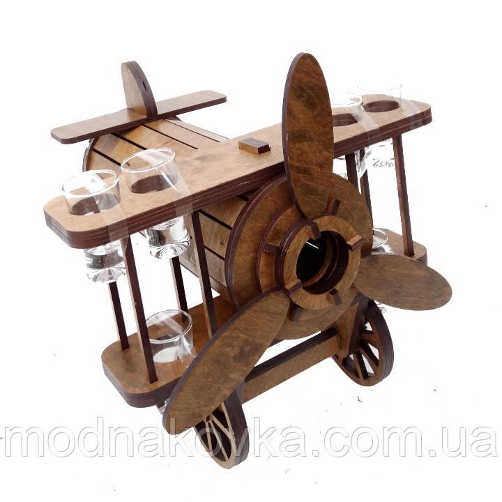 Мини-бар деревянный с рюмками Самолет