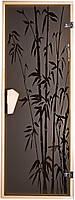 """Стеклянная дверь для сауны Tesli """"Бамбуковый лес"""" 67,8x188"""