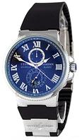 Часы мужские наручные Ulysse Nardin Maxi Marine AA Silver-Black 1023-0095 AAA copy SK (реплика)