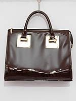 Каркасная женская сумка с фурнитурой цвет шоколад
