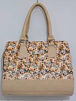 Женская сумка из искусственной кожи, цветы кофейный