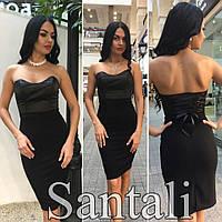 Облегающее черное платье без бретель b-45032386