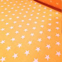 Бязь в белые звезды на желтом №117