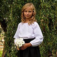 Вышиванка на хлопке для девочки с рукавом 3/4