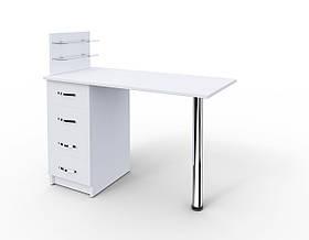 """Маникюрный стол c стеклянными полочками под лак """"Борей+"""""""