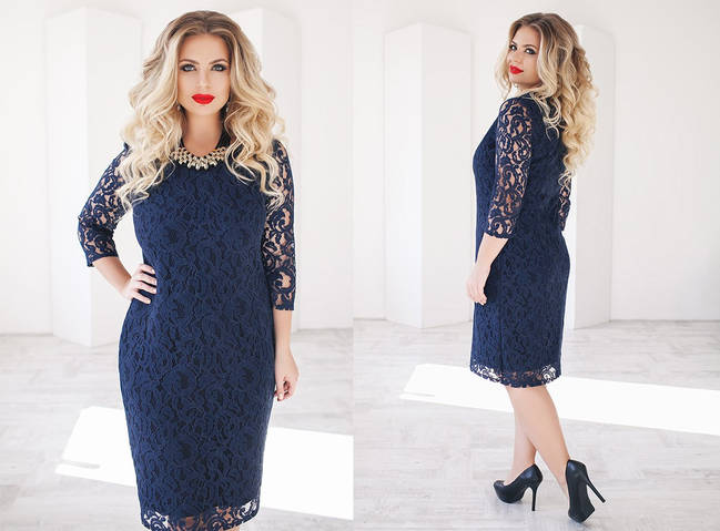 Женское платье батал, трикотаж + гипюр, р-р 48, 50, 52, 54