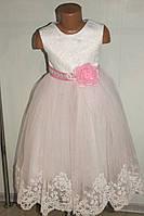 Бальное платье на девочку белое с розовым.