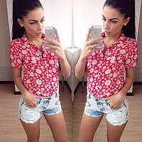 Стильная женская летняя рубашка с цветочным принтом