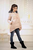 Стильная женская синтепоновая куртка с мехом, фото 1