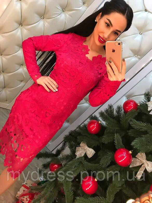 Коктейльное платье гипюр 1120