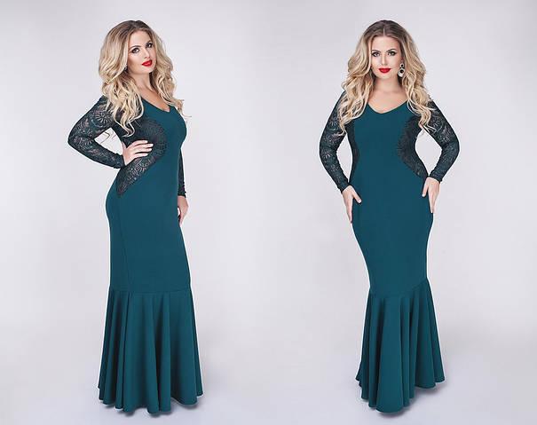Женское платье батал, крепдайвинг + гипюр, р-р 48, 50, 52