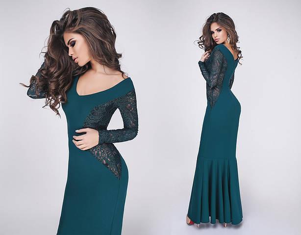 Женское платье батал, крепдайвинг + гипюр, р-р 42, 44, 46