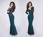 Женское платье батал, крепдайвинг + гипюр, р-р 42, 44, 46, фото 2