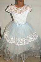 Бальное платье на девочку белое с голубым.