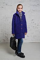 Пальто для девочек,из шерстяного букле синего цвета.