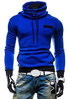 Теплая мужская толстовка с воротником хомут, синий электрик,кофта теплая S M L XL