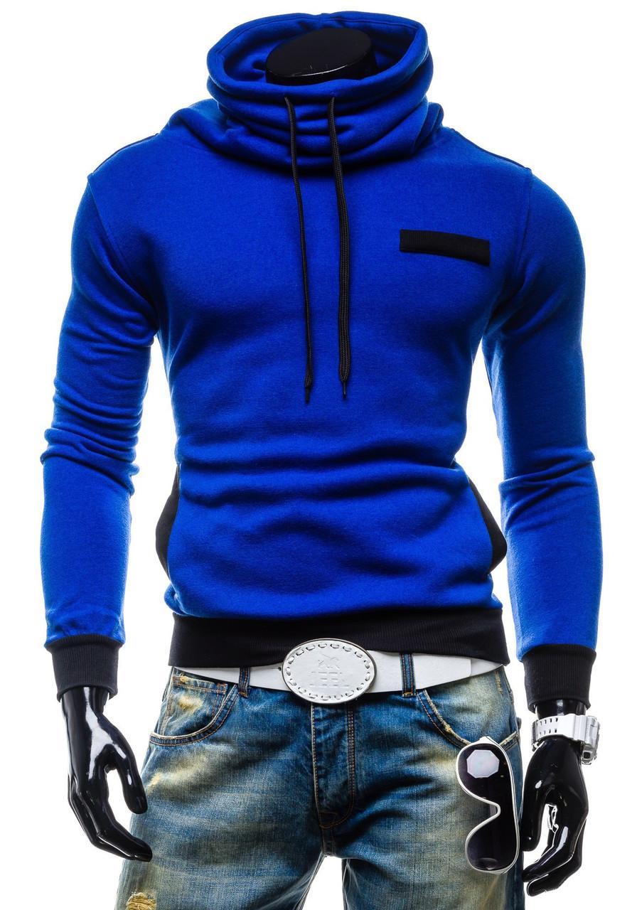 03ad05fc Теплая синяя толстовка мужская с воротником хомут - Интернет-магазин одежды