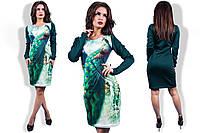 Женское платье с принтом павлина