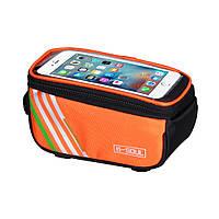 Сумка для телефону на велосипед B-SOUL з екраном до 17х8см помаранчева, фото 1