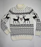 Вязаный свитер с оленями для девочки зимний р. 134 Украина