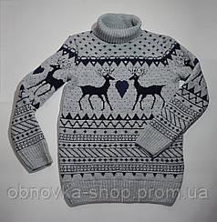 Вязаный свитер с оленями детский зимний р. 122-140 Украина