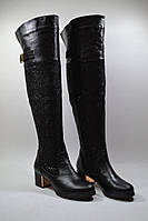 Женские ботфорты на каблуке кожа