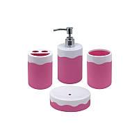 Trento Marinella Набор (стакан, подставка для щеток, дозатор и мыльница) розовый