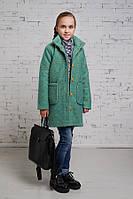 Пальто для девочек,из шерстяного букле мятного цвета.