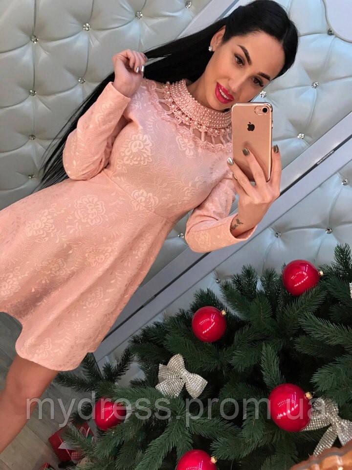 Платье жаккард с жемчугом 6836