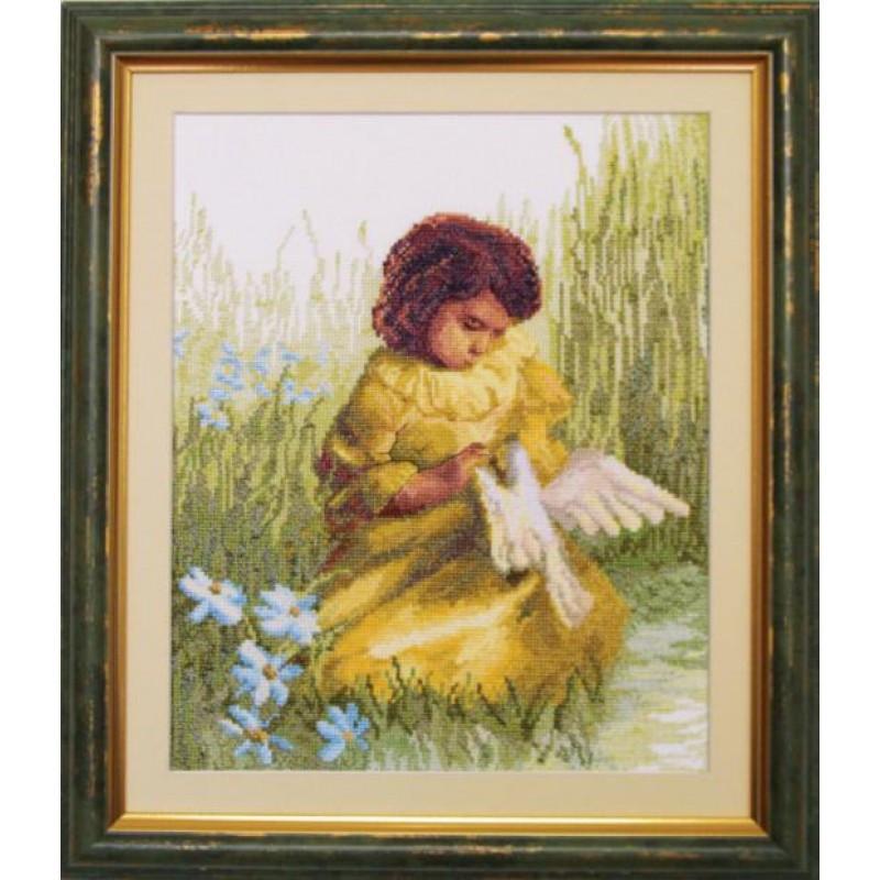 Вышивка девочка с нитками
